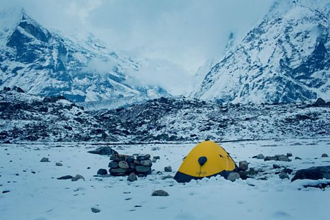 Setting up camp in the Himalayas