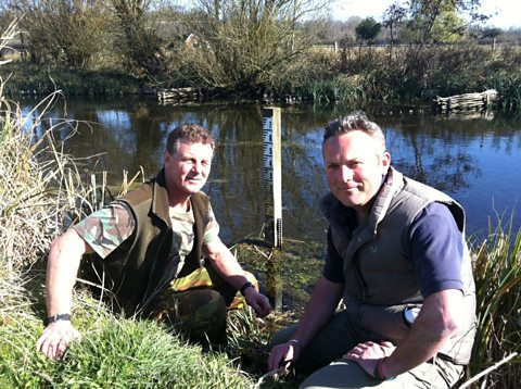 Jules with John Hounslow along the River Kennet in Wiltshire