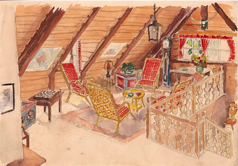 The children's loft at Passek in Bohemia, the house owned by the family, painted by Andreas.