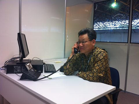 Mr Sha in his office at the Rio conference centre