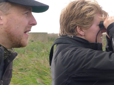 Sam West coaching Clare Balding in the art of bird-watching