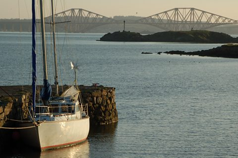 A view across to the Forth Bridge from the headland at Dalgety Bay