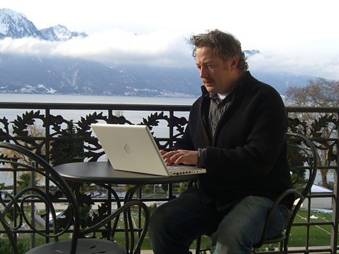 Matthew Sweet working on the script in Montreux, Switzerland