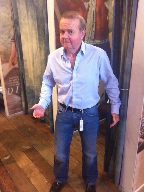 Ian Hislop tries on a pair of jeans for the first time.