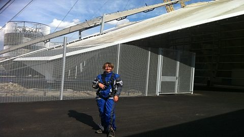 Melanie Abbott about to climb Britain's newest attraction 'Up at The O2', Olympic Venue, London