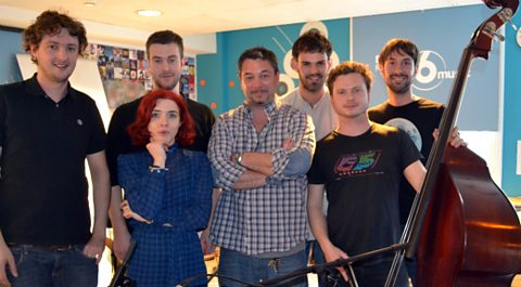 Huey with Portico Quartet fresh from their live session on the show