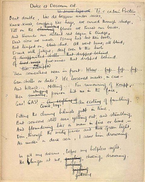 Dulce et Decorum est manuscript