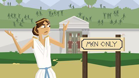 An Ancient Greek woman is very annoyed after being turned away from an Olympic event