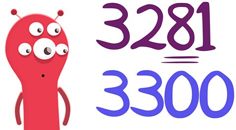 an alien looking at the number 3300