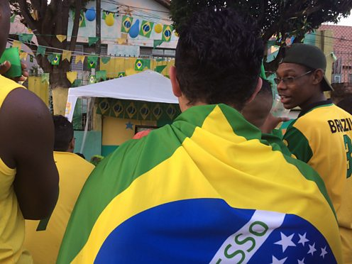 Brazilian fans before the 2014 World Cup (BBC copyright)