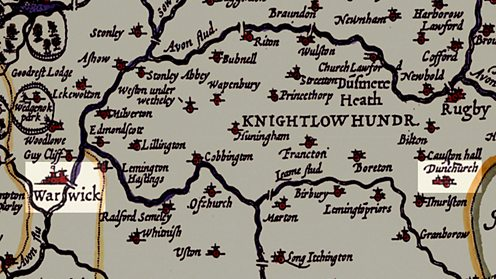 A map of the Midlands from the early 17th century