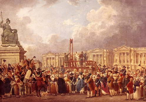 Painting depicting the execution of Louis XVI during the French Revolution