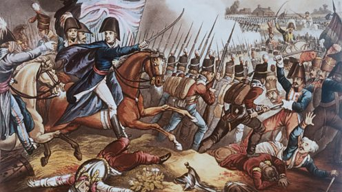 The Duke of Wellington, Arthur Wellesley, drives his men forward at Waterloo