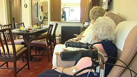 Elderly ladies in a care home