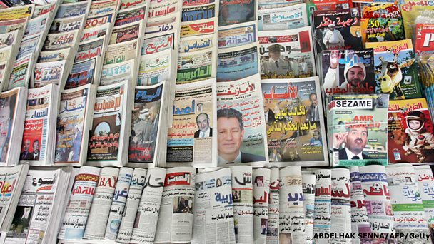 Newspapers on display in Morocco