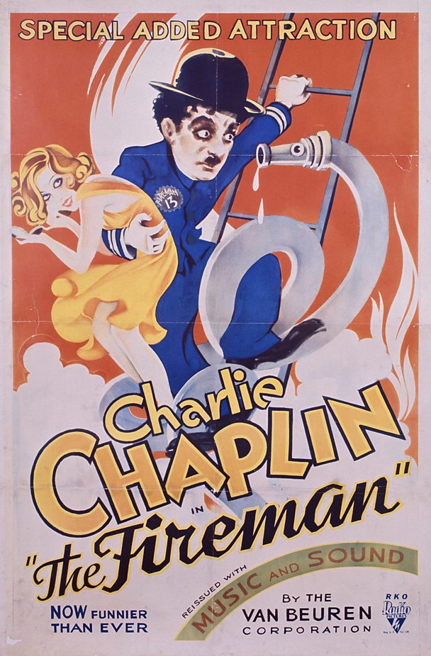 Poster of Charlie Chaplin film 'The Fireman'.