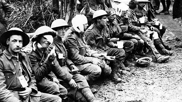 Row of wounded World War One soldiers. Image courtesy of National Library of Scotland.