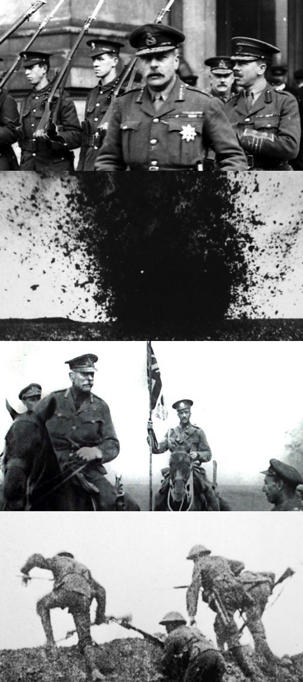 Composite image of Field Marshall Haig, soldiers on the Somme and an explosion.
