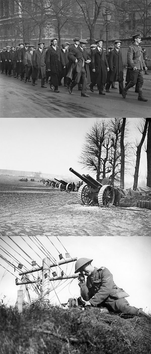 WW1 artillery, soldiers and communications