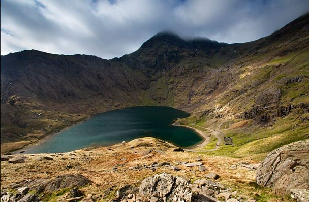 Heart-shaped lake in Snowdonia by photographer Kris Williams.