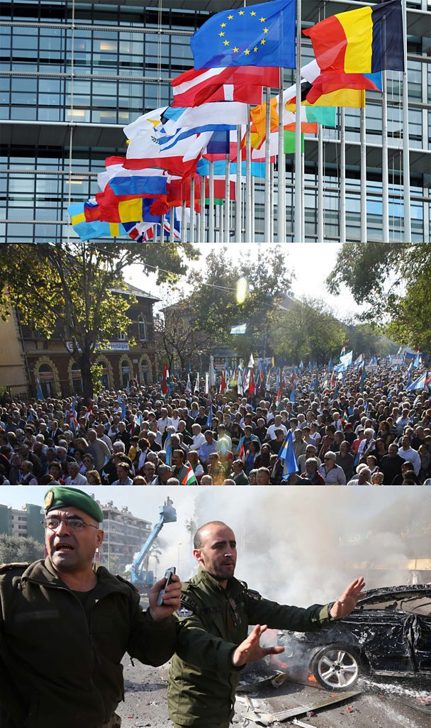 From top: The EU Parliament in Strasbourg, Protesters in Budapest, Security in Beirut
