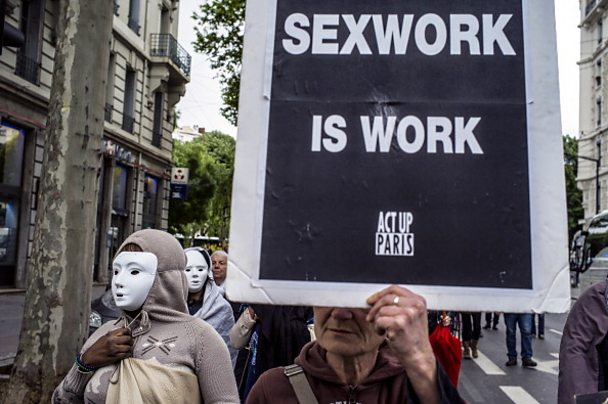 Prostitutes demonstrate in Lyon. Credits: JEFF PACHOUD/AFP/Getty Images