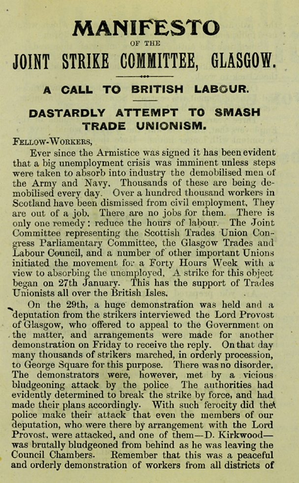 leaflet by Joint Strike Committee written just after the battle of George Square.