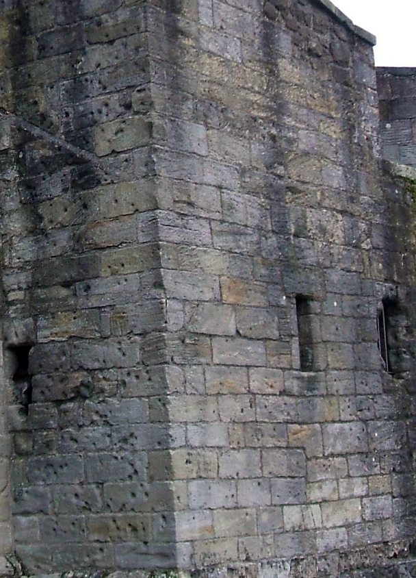 Bullet marks in forework at Stirling Castle