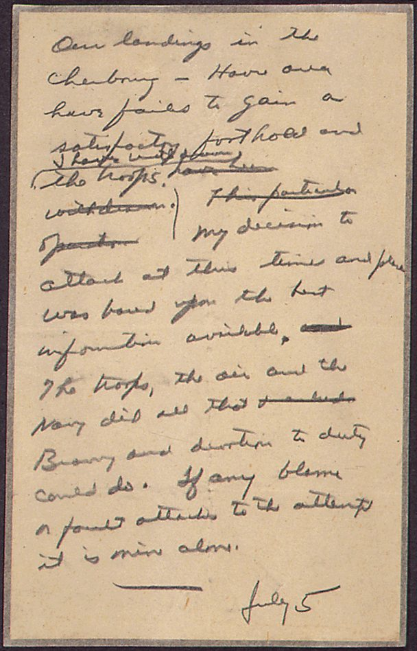 Speech drafted by Dwight Eisenhower in case D-Day failed