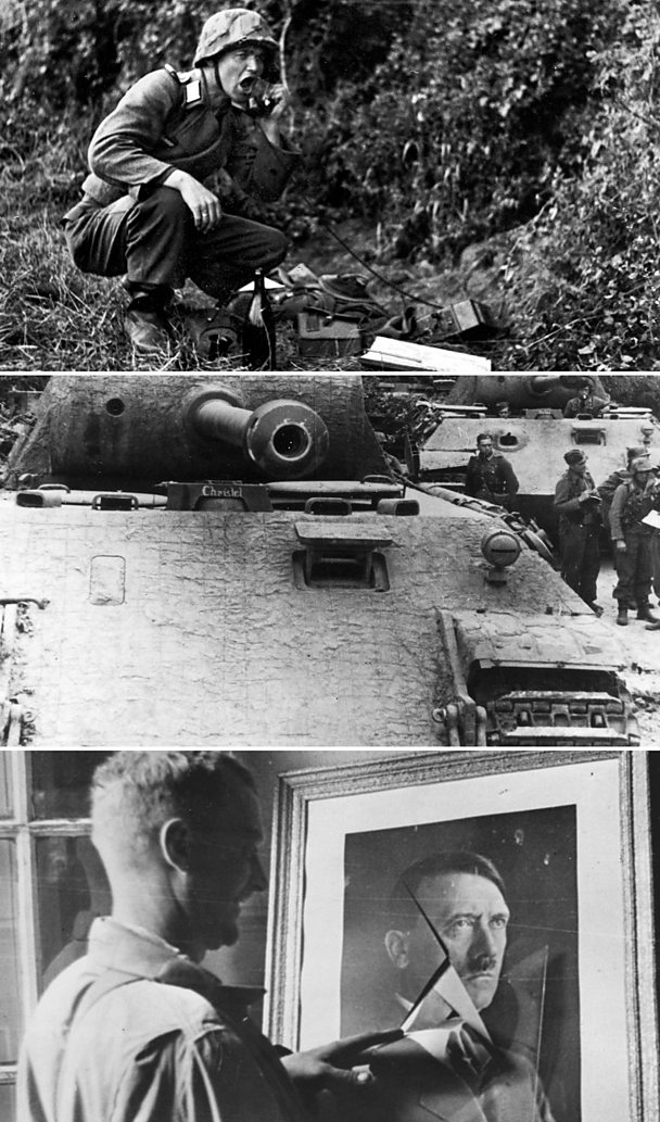 From top: German radio operator during D-Day; tank in Normandy; US GI, Sainte Mere Eglise