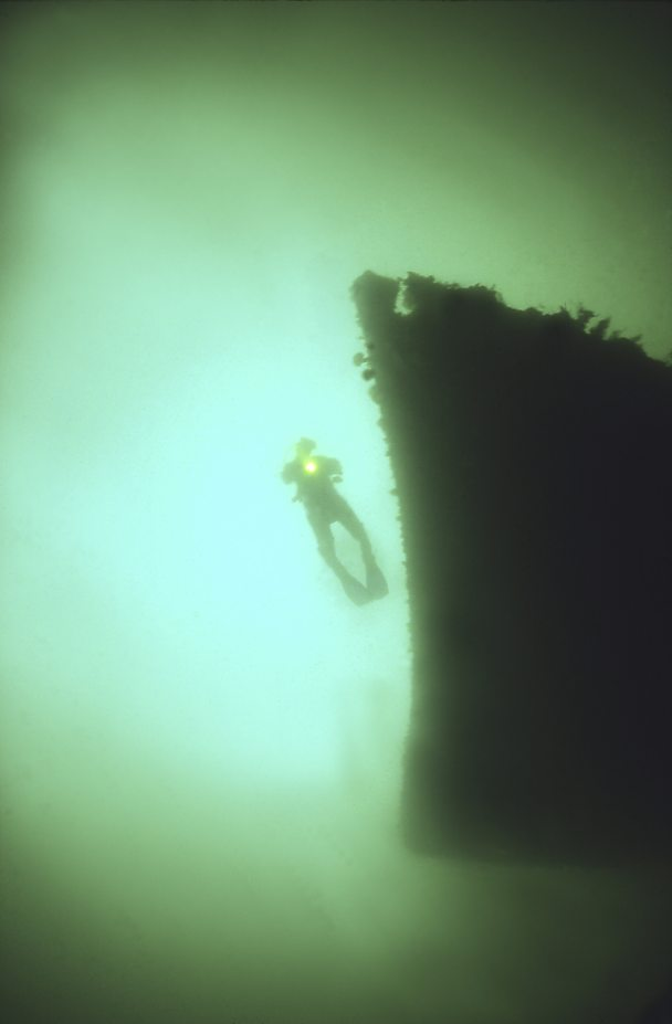 Diver with German Destroyer