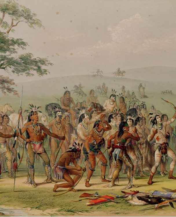 Detail from Mandan Archery Contest by George Catlin.