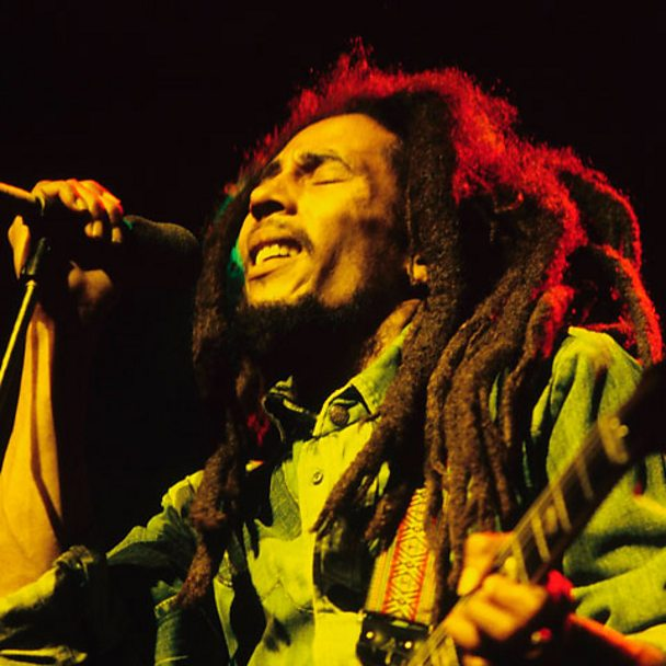 Bob Marley performing in Brighton in 1980.