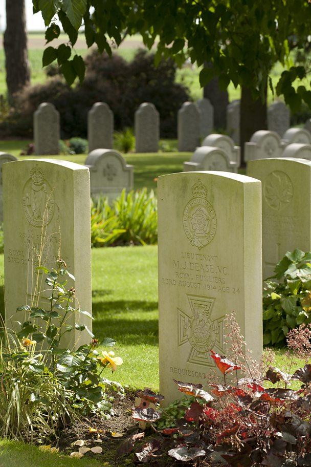 Gravestones at St Symphorien Cemetery, Belgium, 2010. Mary Evans