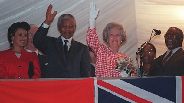 The Queen with Nelson Mandela in Durban in 1995