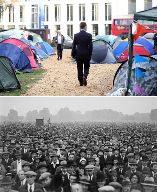 Composite image of occupy movement and protestors in Hyde Park in 1931.
