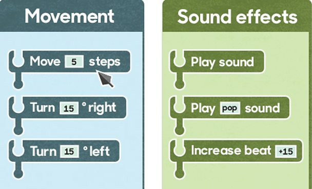 Blocks of code under the headings Movement and Sound effects.