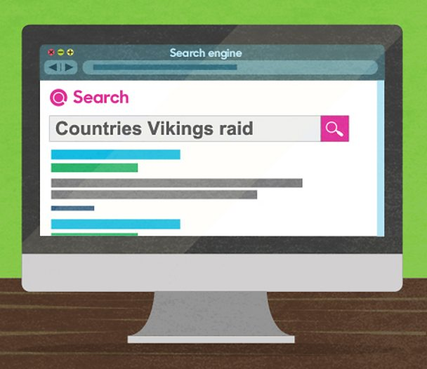 An illustration of a search engine with the key words 'countries', 'vikings' and 'raid'