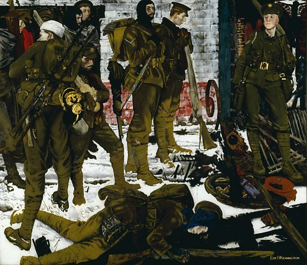 Soldiers during WW1 depcited in a painting