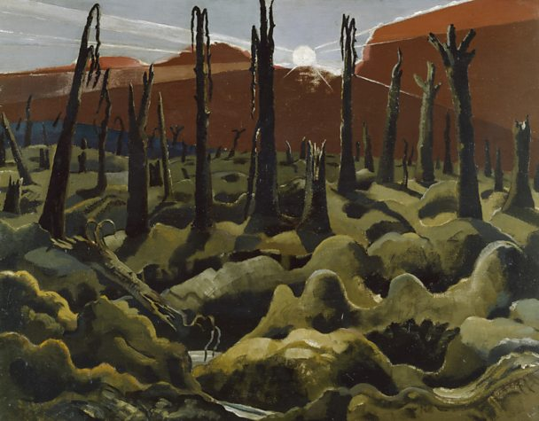 A painting of a devastated World War One landscape
