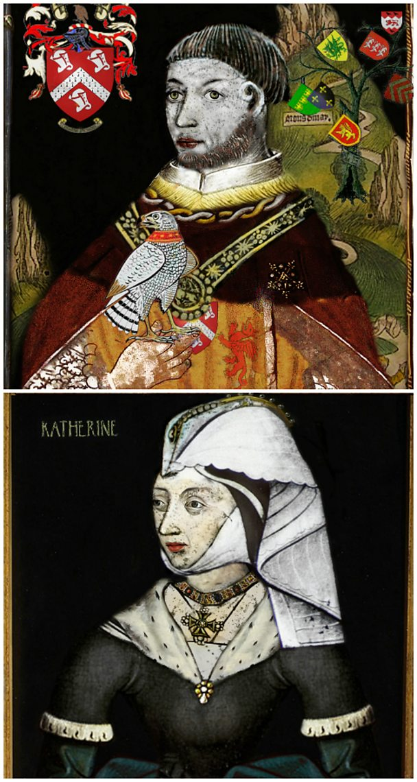 Portraits of Owen Tudor and his wife and Catherine of Valois. Sourced by Proto (Flickr).