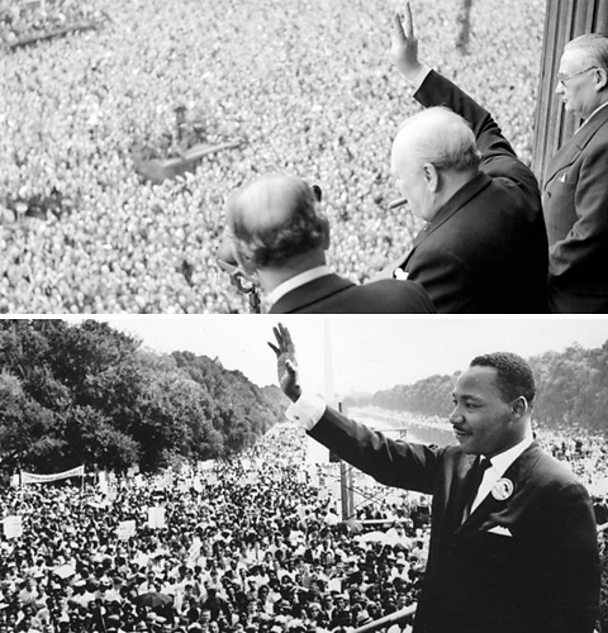 Churchill and Luther King in front of crowds