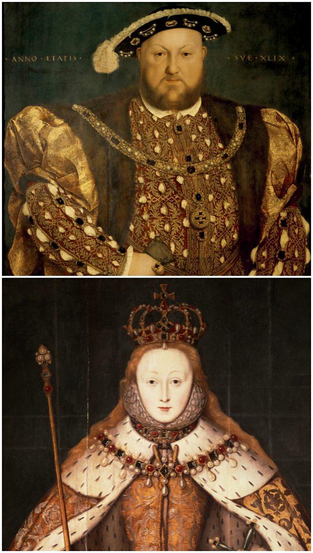 Henry VIII and Elizabeth I - Getty Images.
