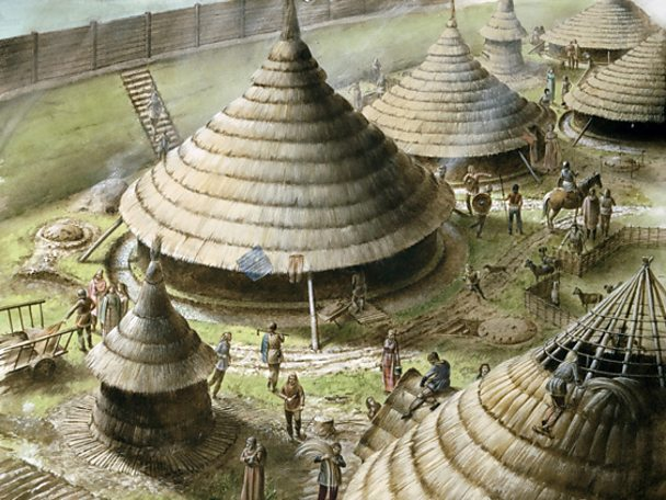 The Britons lived in villages of round houses
