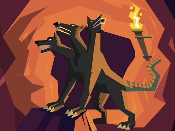 The three headed dog, Cerberus, guarding the Underworld.