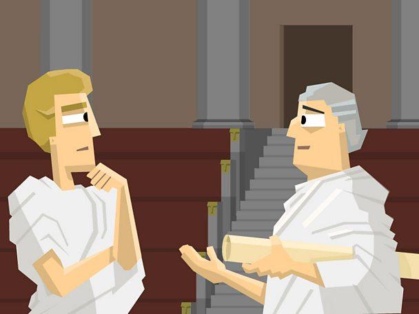Two Roman senators in discussion.