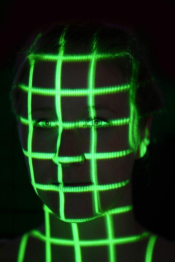 face detection neon grid