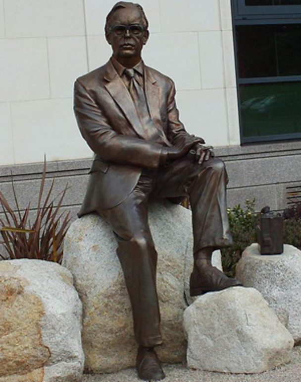 A statue of Frank Pantridge outside Lisburn Civic Centre