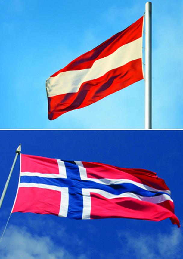 Austrian and Norwegian flags