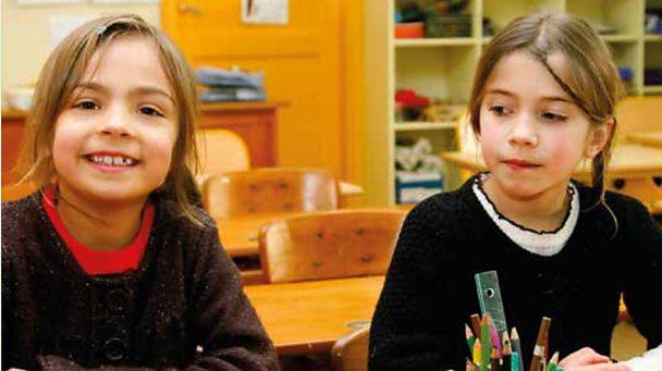 Two girls in a school